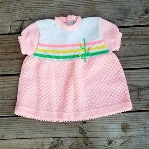 Vintage Infant Pink Waffle Knit Spring Dress